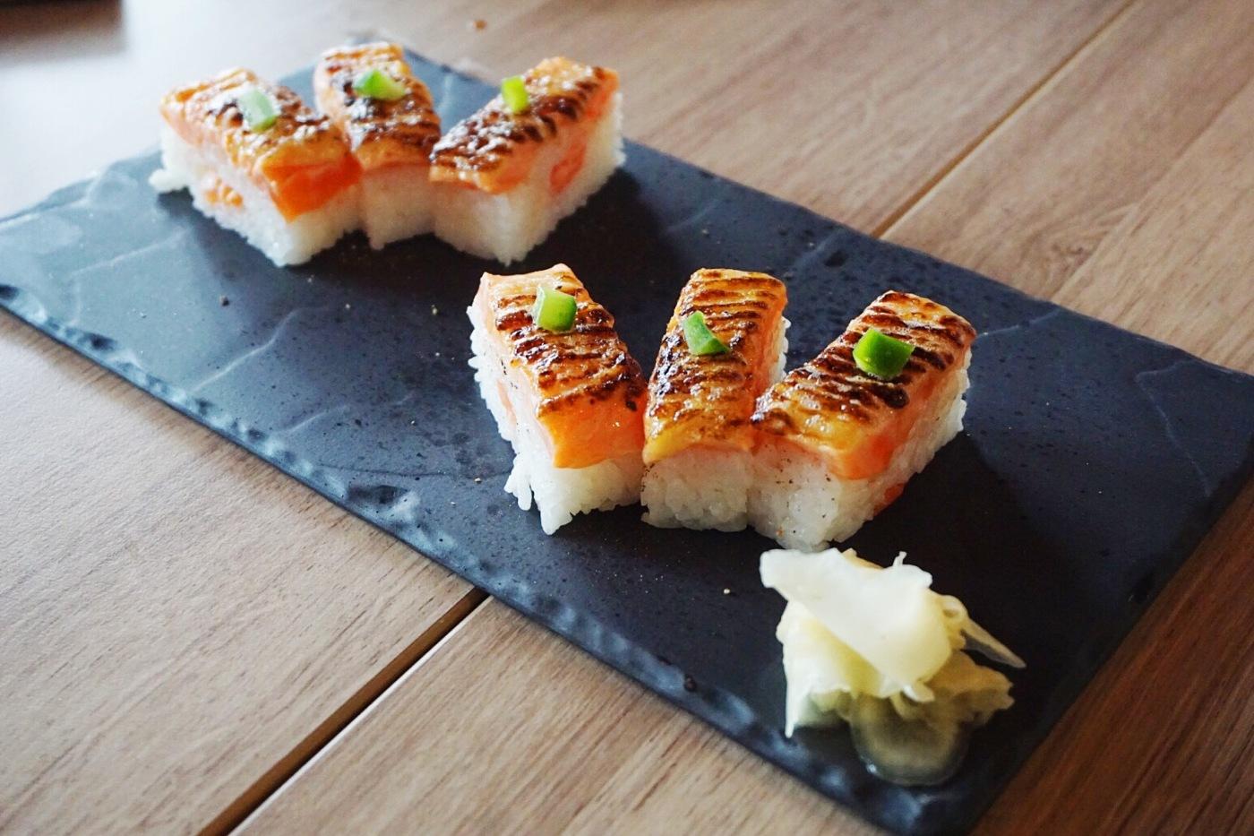 Salmon oshi sushi (pressed rice sushi)