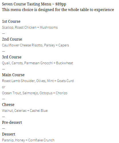 Menu from St Michael's website
