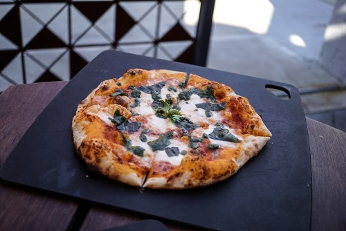 Buffalo mozzarella, tomato & Basil pizza ($18)