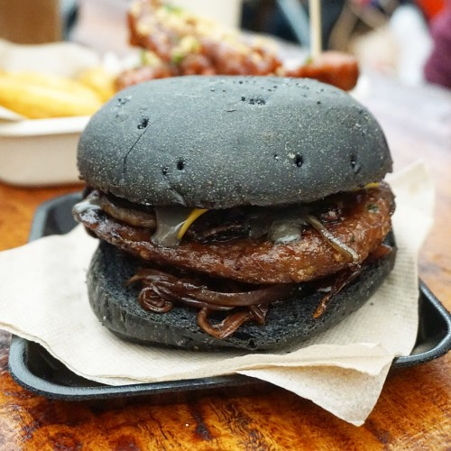 Famous charcoal beef burger ($10)