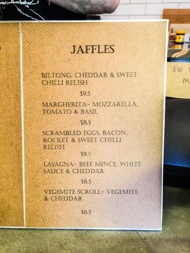 Jaffles menu