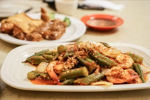 Sambal okra with prawn ($16.50)