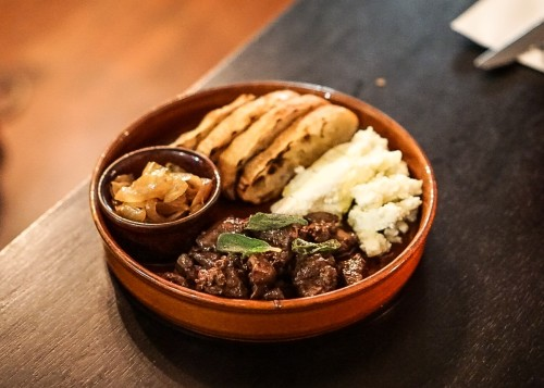 Chicken livers, sage, onion jam, ricotta cheese, and crusty bread ($19)