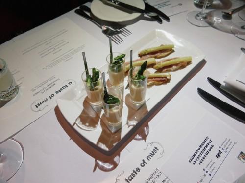 Left: Blue manna crab custard & asparagus tip Right: Prosciutto & white asparagus crostada